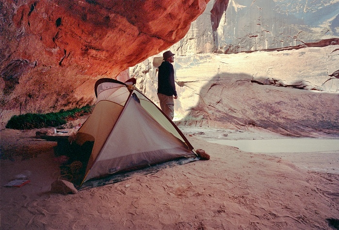 Camp in the alcove. Paria River, Utah. | LENS MODEL NOT SET <br> Click image for more details, Click <b>X</b> on top right of image to close
